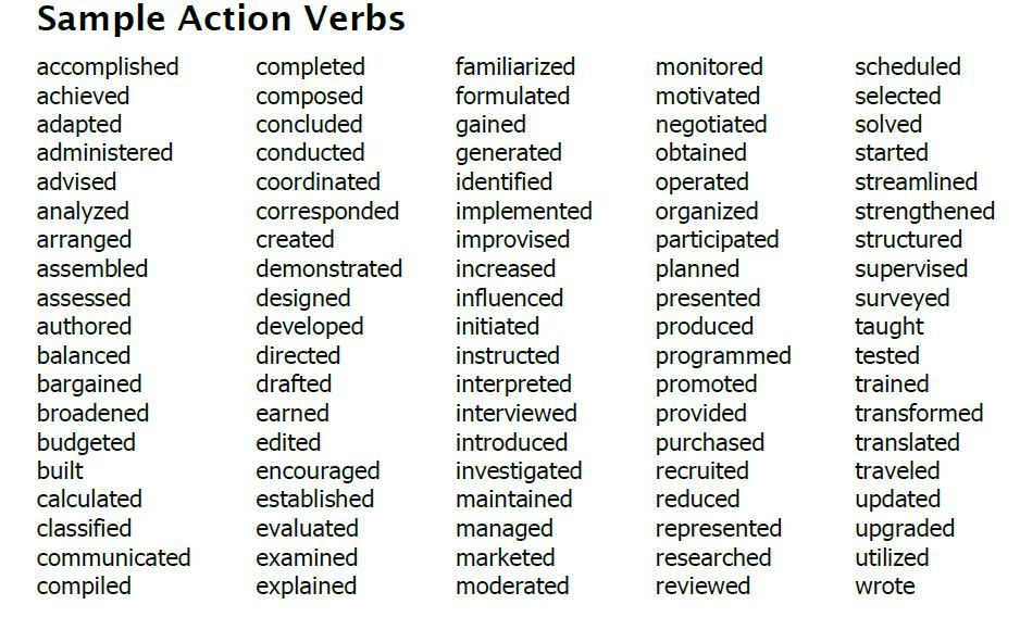 resume action verbs templates template builder tdfvhaw words best for transition Resume Best Action Words For Resume