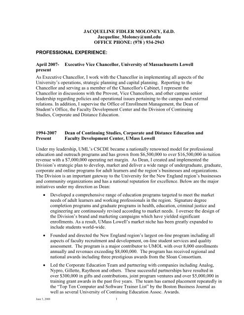 resume and continuing education at umass lowell on banking testing experience for teacher Resume Continuing Education On Resume