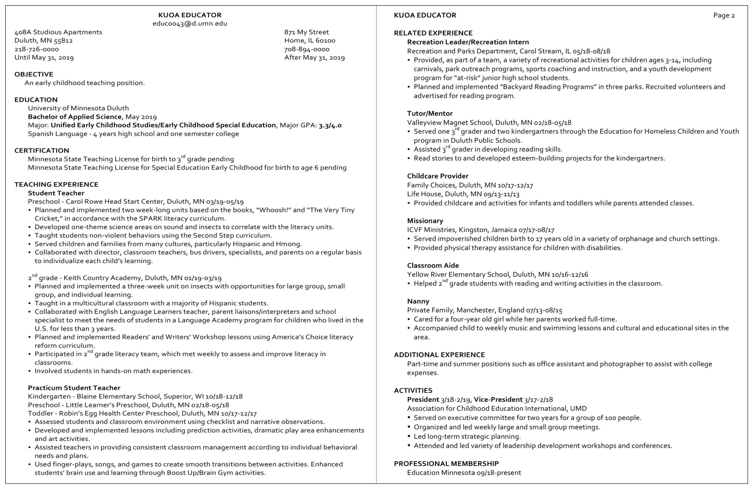 resume examples career internship services umn duluth sample high school for kuoa Resume Sample High School Resume For Internship