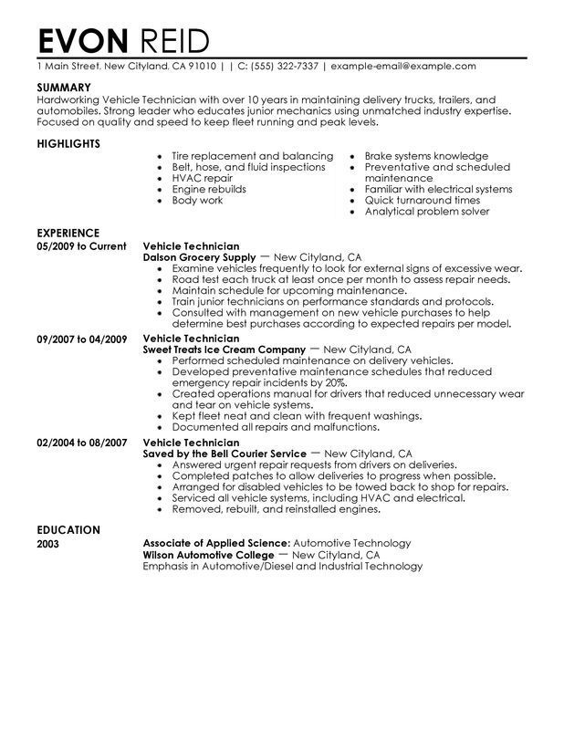 resume examples diesel mechanic in template moin objective assistant property manager Resume Diesel Mechanic Resume Objective