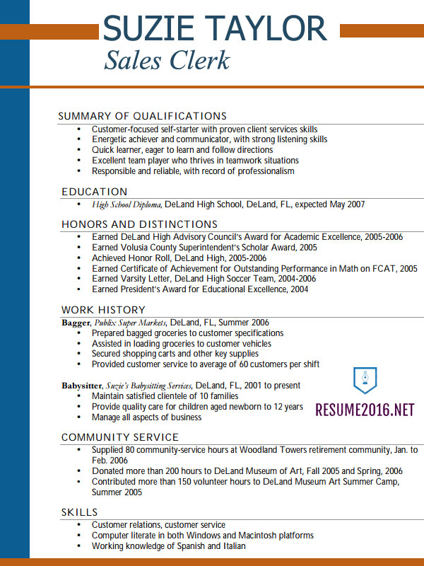 resume examples for high school students and writing tips student example poultry entry Resume High School Resume Examples And Writing Tips