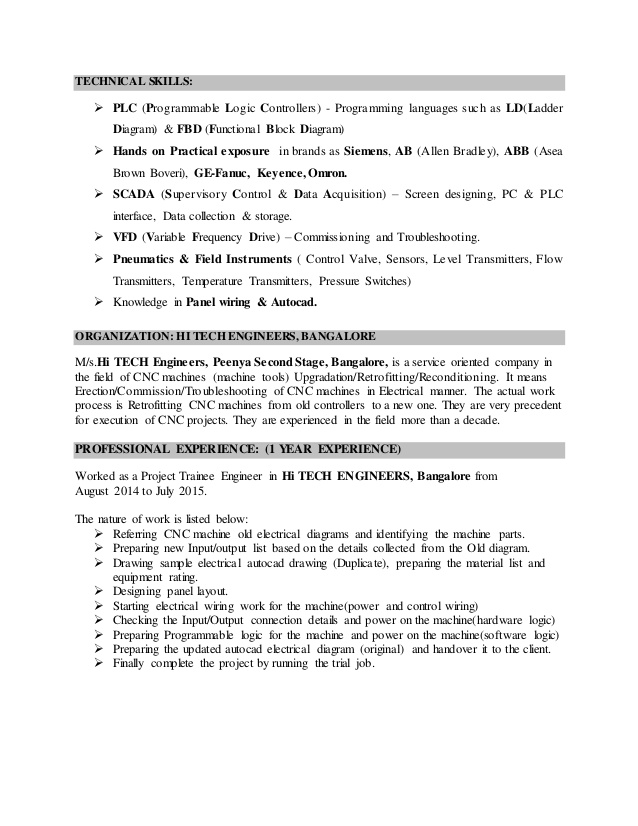 resume for applying plc engineer job programmer sample english teacher responsibilities Resume Plc Programmer Resume Sample