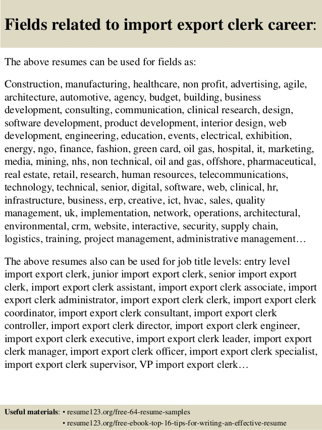 resume for import export format top clerk samples special aide honors college example Resume Export Import Resume Format