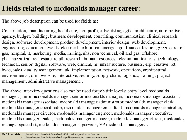 resume for mcdonalds manager job description top interview questions and answers free Resume Mcdonalds Manager Job Description For Resume