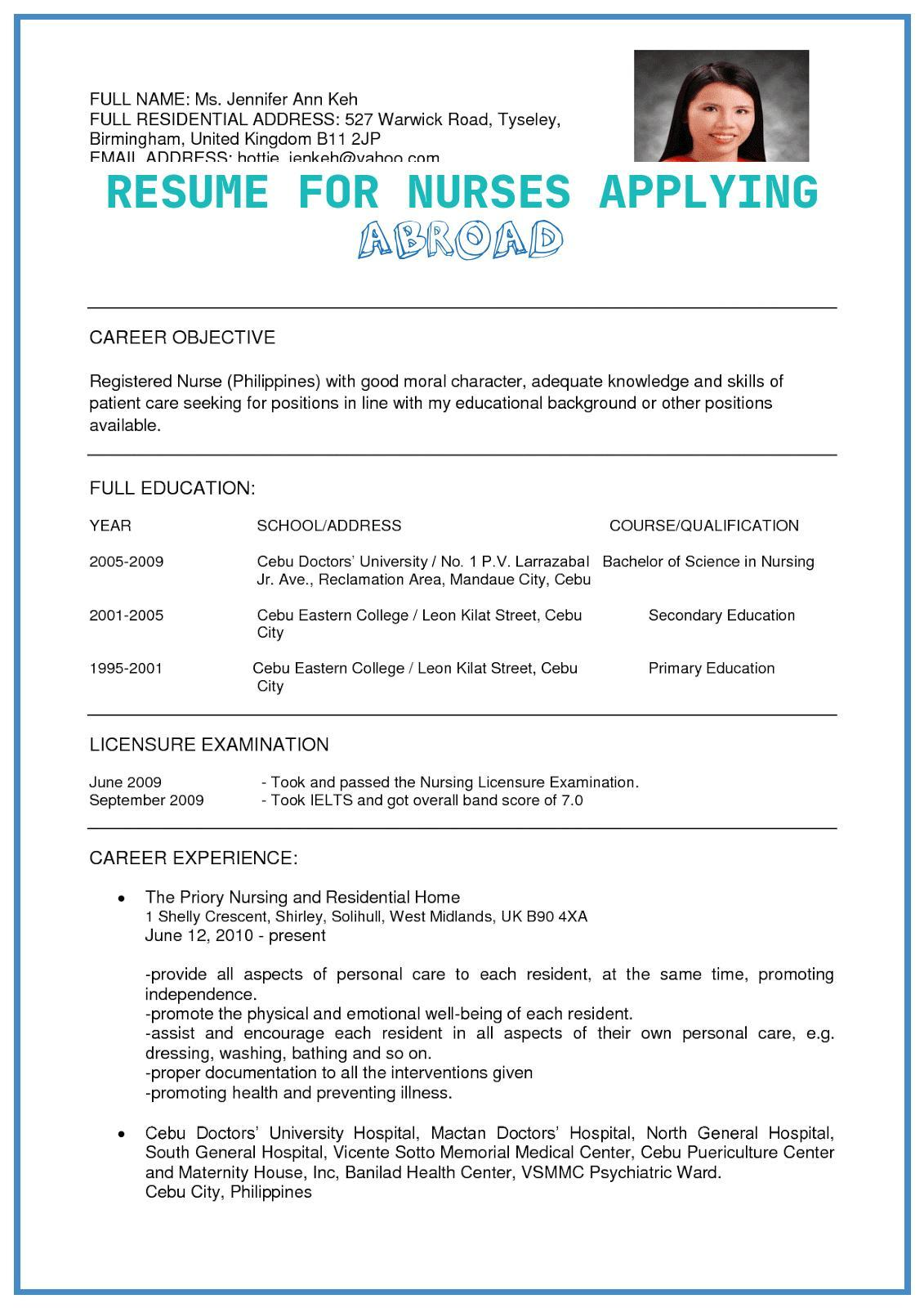 resume for nurses applying abroad free templates sample work of resumes pin template Resume Resume Sample For Work Abroad