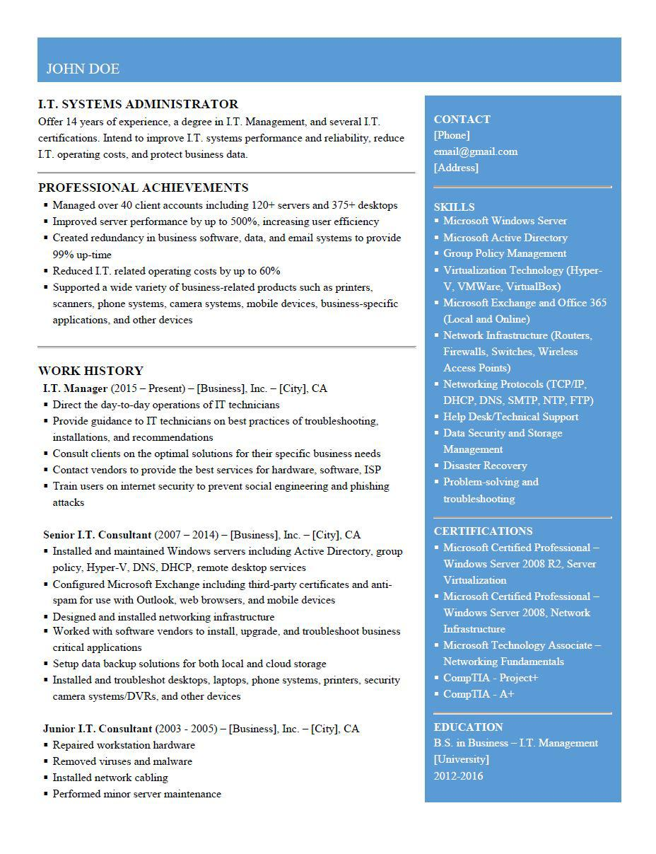 resume for system administrator it consultant resumes reddit ygelwgfywgh31 designtaxi Resume System Administrator Resume Reddit