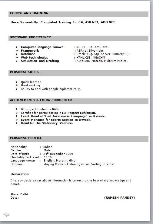 resume format for fresher free job cv example basic freshers it in word great examples Resume Basic Resume Format For Freshers