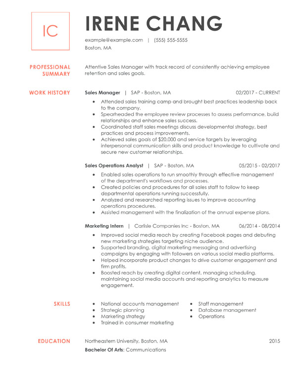 resume formats guide my perfect excellent examples chronological manager investment Resume Excellent Resume Examples 2020