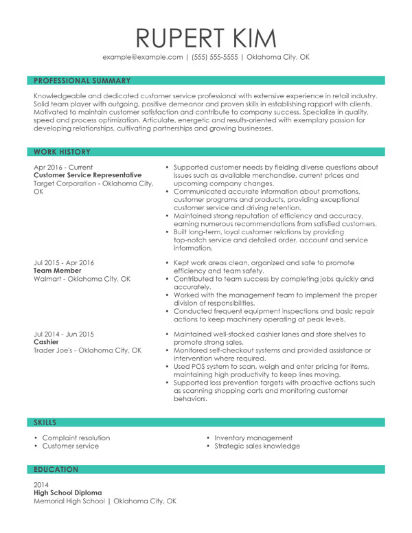 resume formats guide my perfect experience format chronological customer service Resume Experience Resume Format
