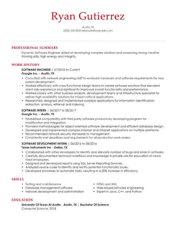 resume formats guide my perfect format guidelines chronological software engineer data Resume Resume Format Guidelines