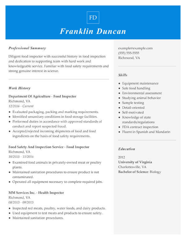resume formats guide my perfect format guidelines combination food inspector new Resume Resume Format Guidelines