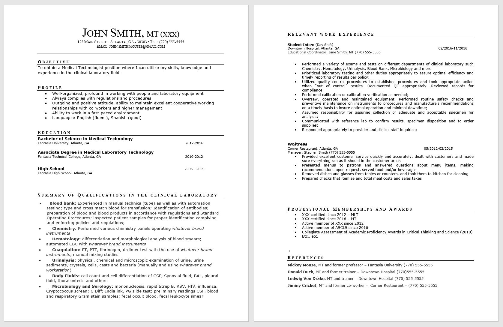 résumé guide society for clinical laboratory science state skills resume johnsmith Resume Laboratory Skills Resume