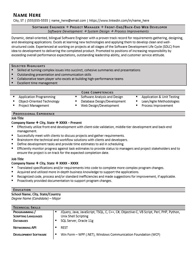 resume headers and sections you need examples zipjob professional software engineer Resume Professional Resume Headers