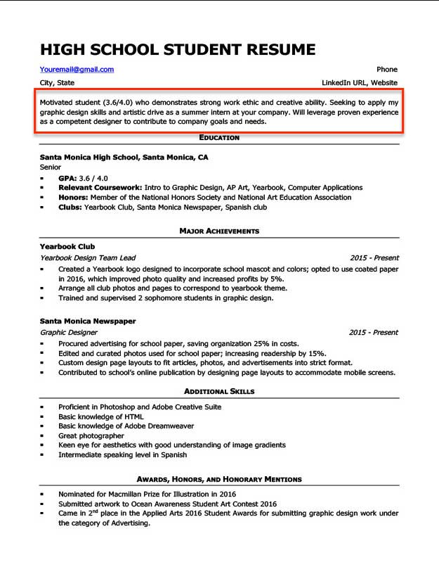 resume objective examples for students and professionals career high school student Resume Career Objective For Resume