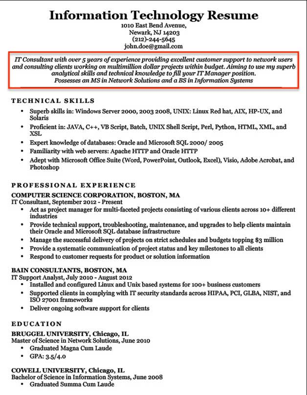 resume objective examples for students and professionals career information technology Resume Career Objective For Resume