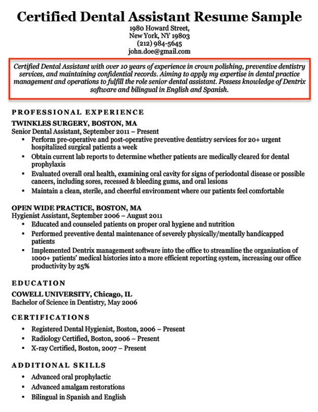 resume objective examples for students and professionals introduction dental assistant Resume Resume Introduction Examples