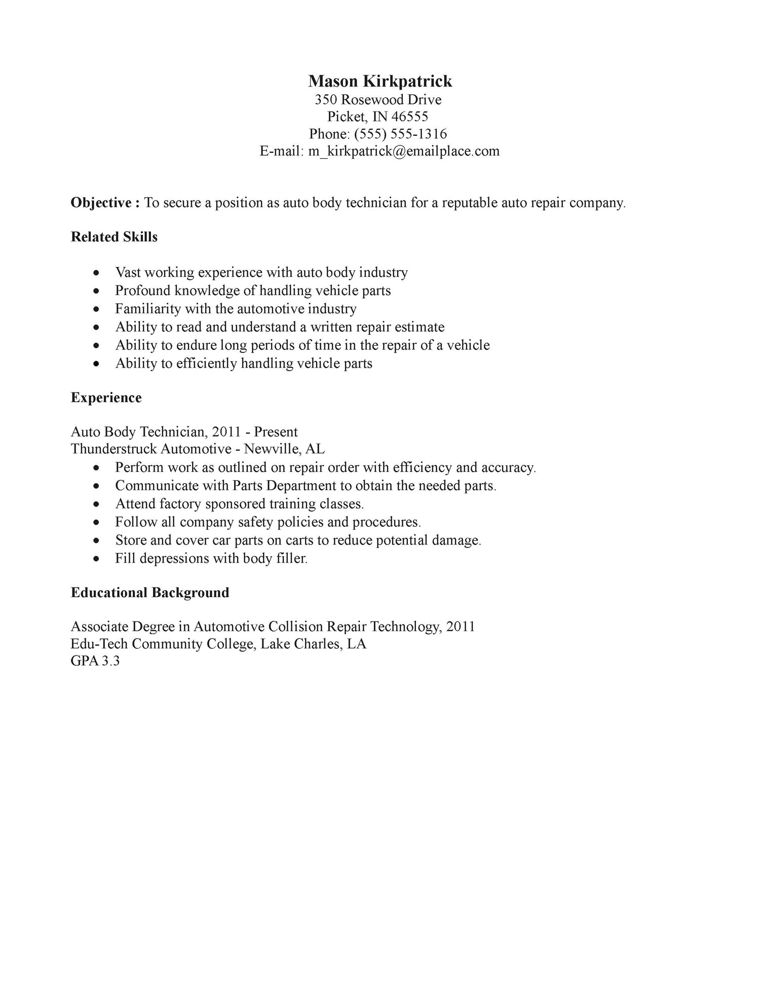 resume sample auto mechanic objective examples body technician with tables technical Resume Auto Mechanic Resume Sample