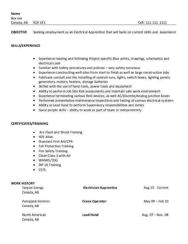 resume sample electrical apprentice templates examples electrician title officer opposite Resume Electrician Apprentice Resume