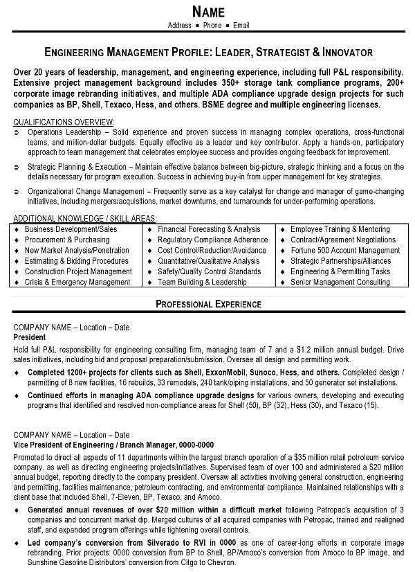 resume sample engineering management career resumes quantitative examples pg1 strong Resume Quantitative Resume Examples