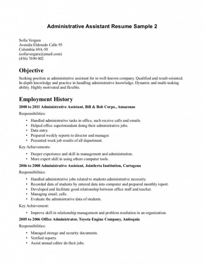 resume samples administrative assistant medical objective sample good objectives for Resume Good Resume Objectives For Office Positions