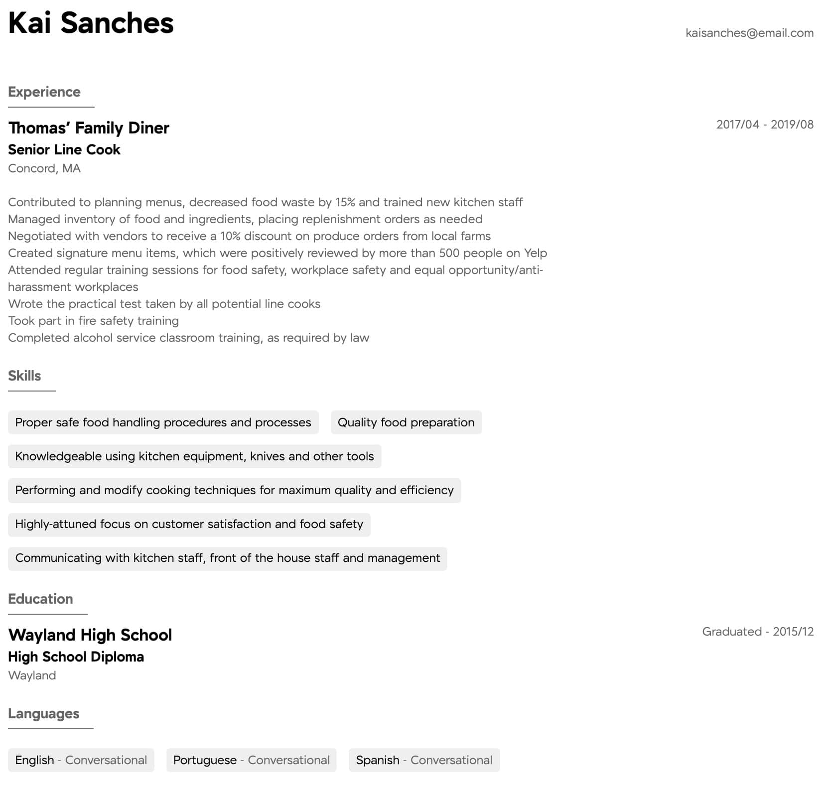 resume samples all experience levels line skills intermediate table of contents Resume Line Cook Resume Skills
