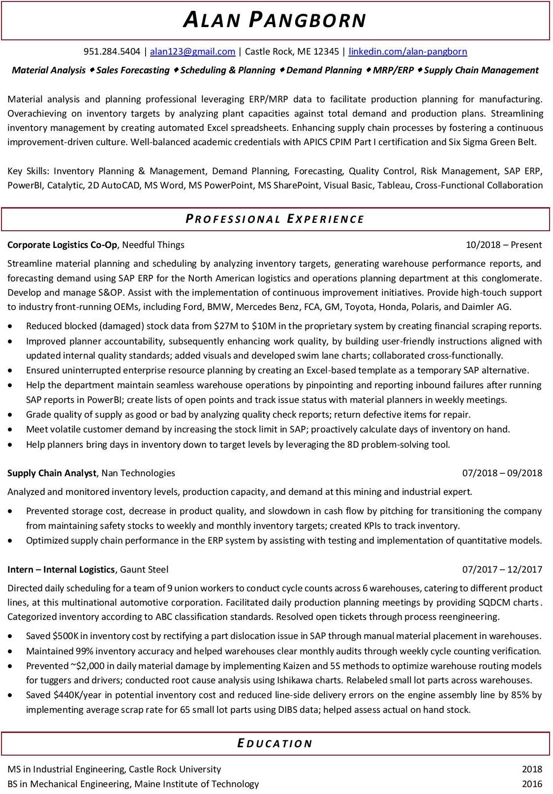 resume samples that ll get you hired careertuners production planning and control Resume Production Planning And Control Engineer Resume Samples