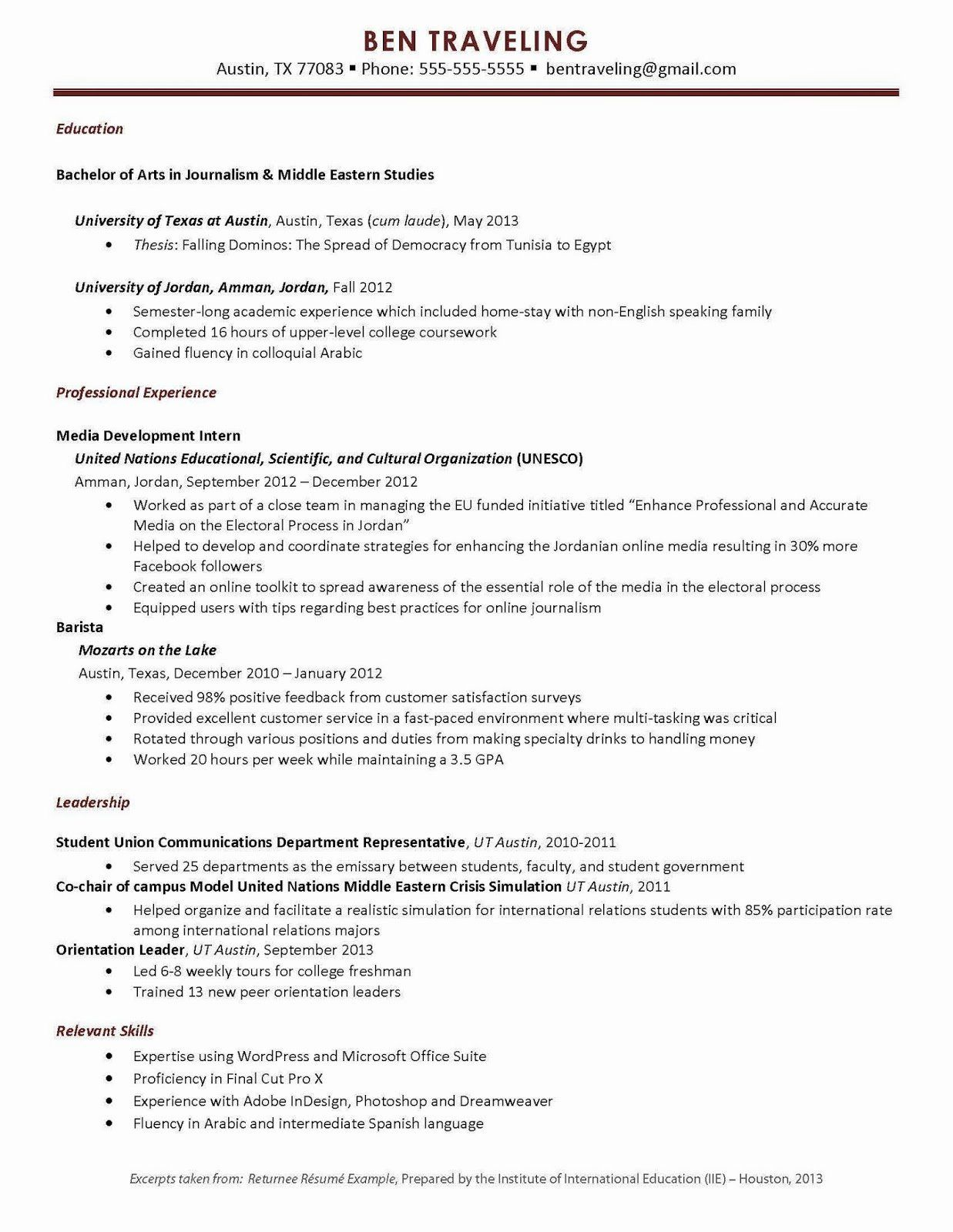 resume study abroad example elegant university of can in teacher examples job experience Resume Study Abroad Experience On Resume