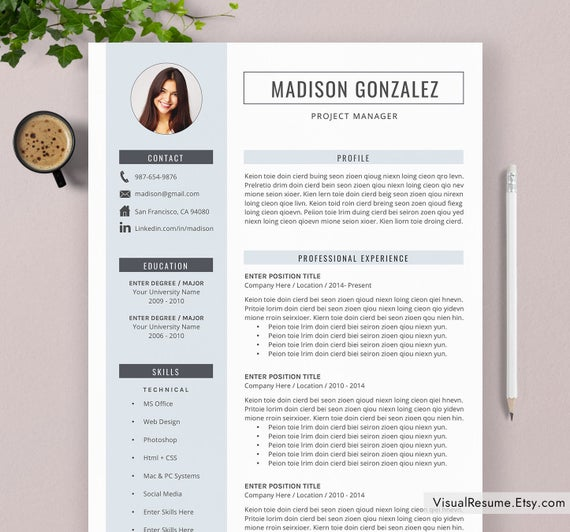 resume template cv for word professional etsy templates il 570xn lpdx physiotherapist Resume Resume Templates 2020 Word
