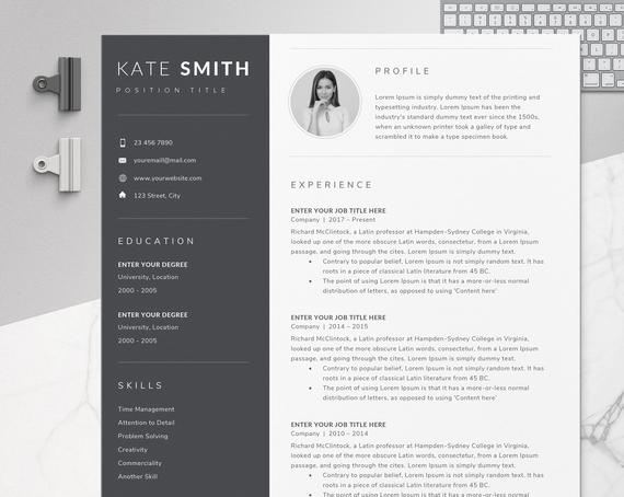 resume template one professional etsy il 570xn qvfk certifications on order clerk Resume One Page Resume Template