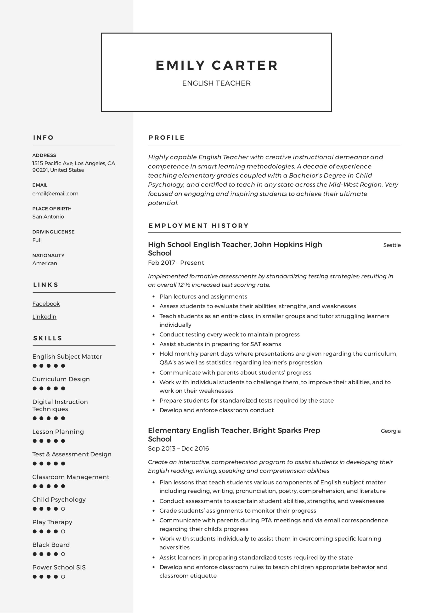 resume templates pdf word free downloads and guides template english modern receptionist Resume Template English Resume