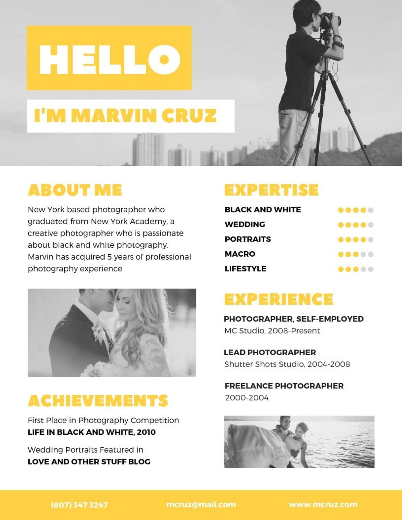 resume templates to help you get your next job creative photographer yellow warehouse Resume Creative Photographer Resume Templates