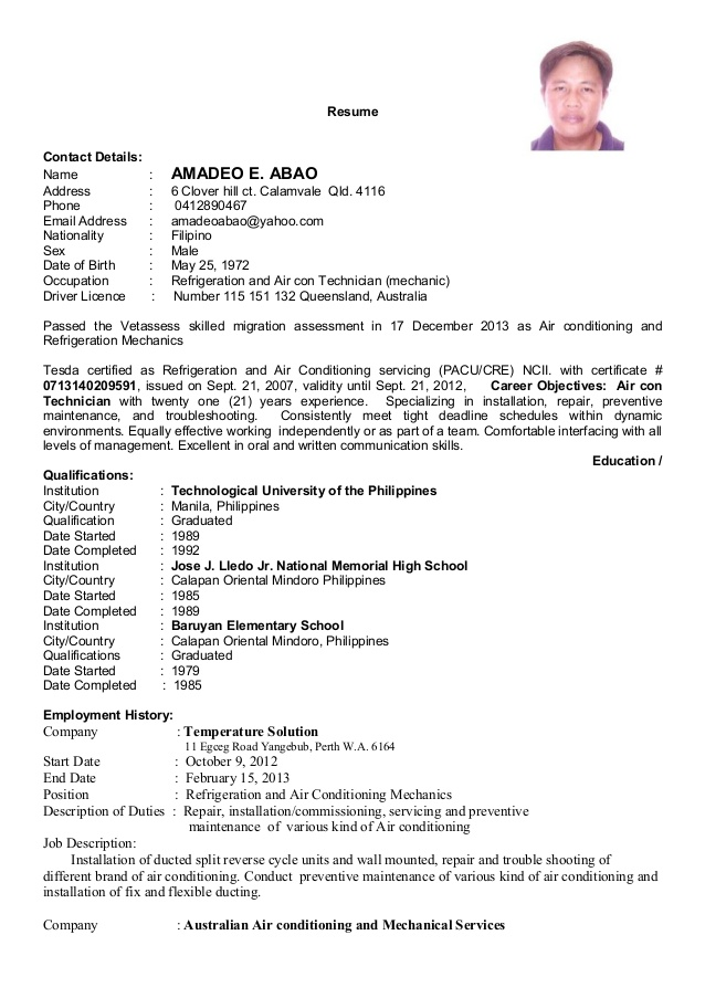 resume updated for refrigeration and airconditioning mechanic special security officer Resume Resume For Refrigeration And Airconditioning Mechanic