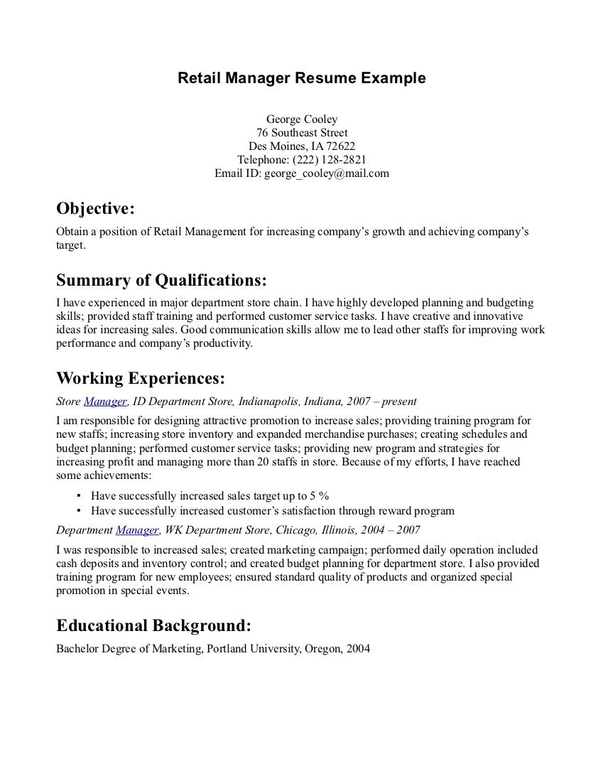 retail manager resume example free templates examples objective sample objectives for Resume Sample Resume Objectives For Retail Management