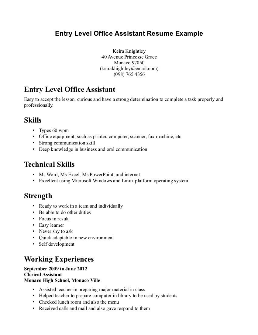 retail resume example entry level http resumecareer info administrative assistant office Resume Entry Level Resume For Library Assistant