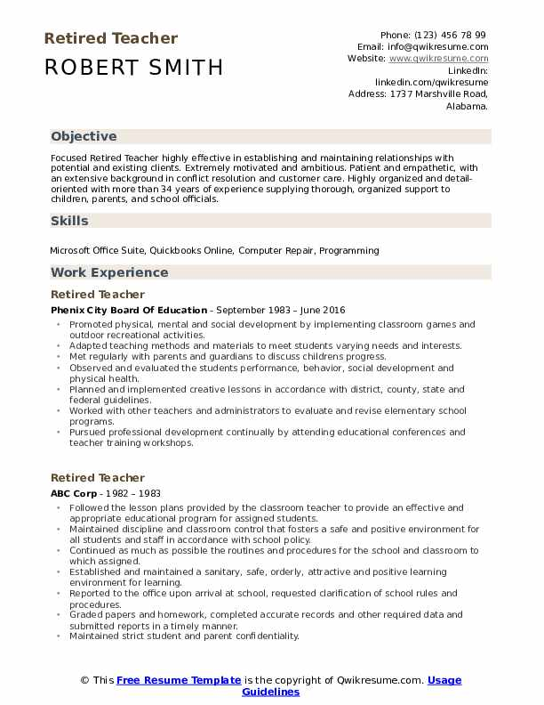 retired teacher resume samples qwikresume transition out of teaching examples pdf Resume Transition Out Of Teaching Resume Examples