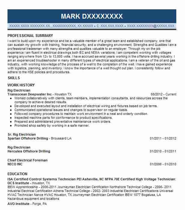 rig electrician resume oil field companies that hire writers sample skills section Resume Oil Field Electrician Resume