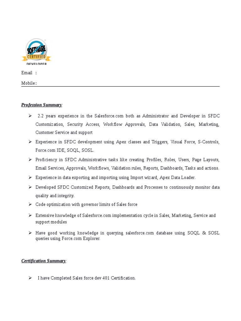 salesforce developer resume with lightning experience ux examples construction worker Resume Salesforce Lightning Developer Resume