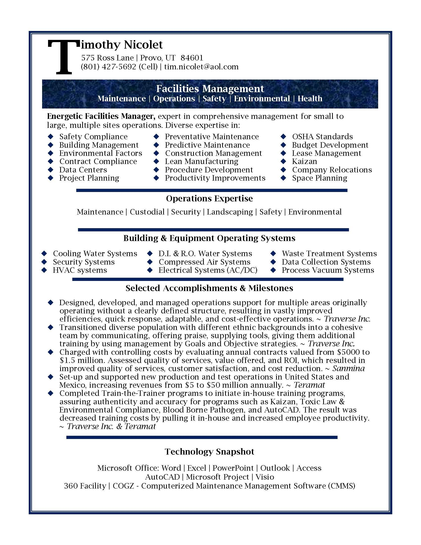 sample facilities manager resume examples professional samples facility operations high Resume Facility Operations Manager Resume Sample
