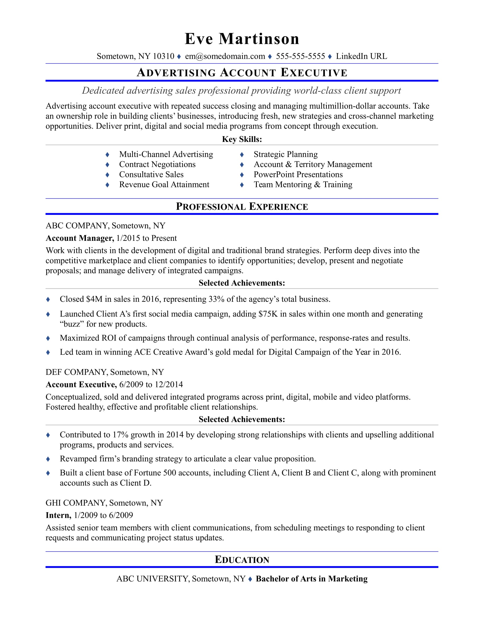 sample resume for an advertising account executive monster simple two column template Resume Account Executive Resume