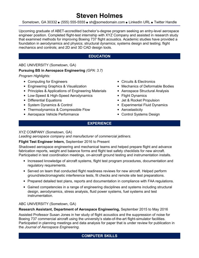 sample resume for an entry level aerospace engineer monster systems examples warehouse Resume Entry Level Systems Engineer Resume