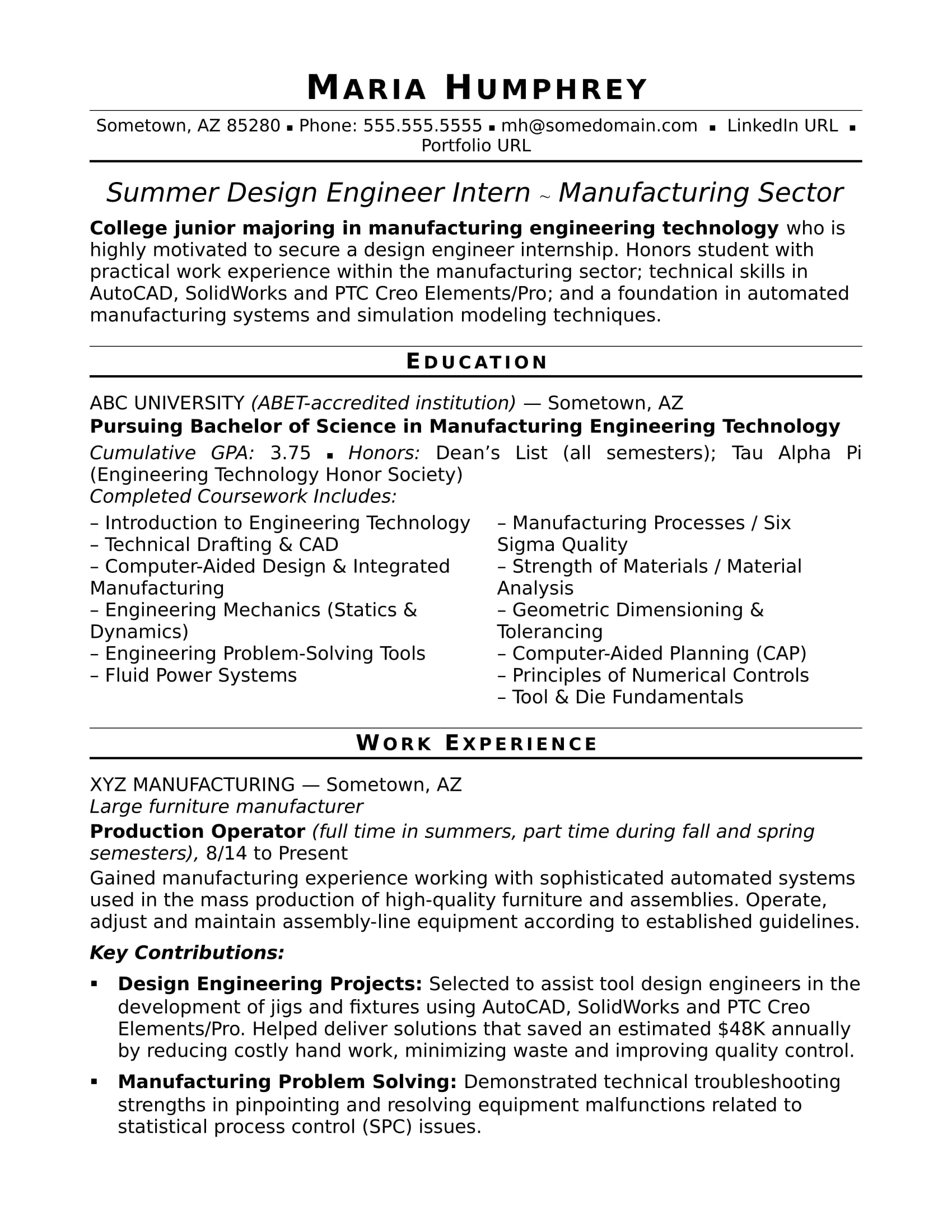 sample resume for an entry level design engineer monster manufacturing marketing Resume Manufacturing Engineer Resume
