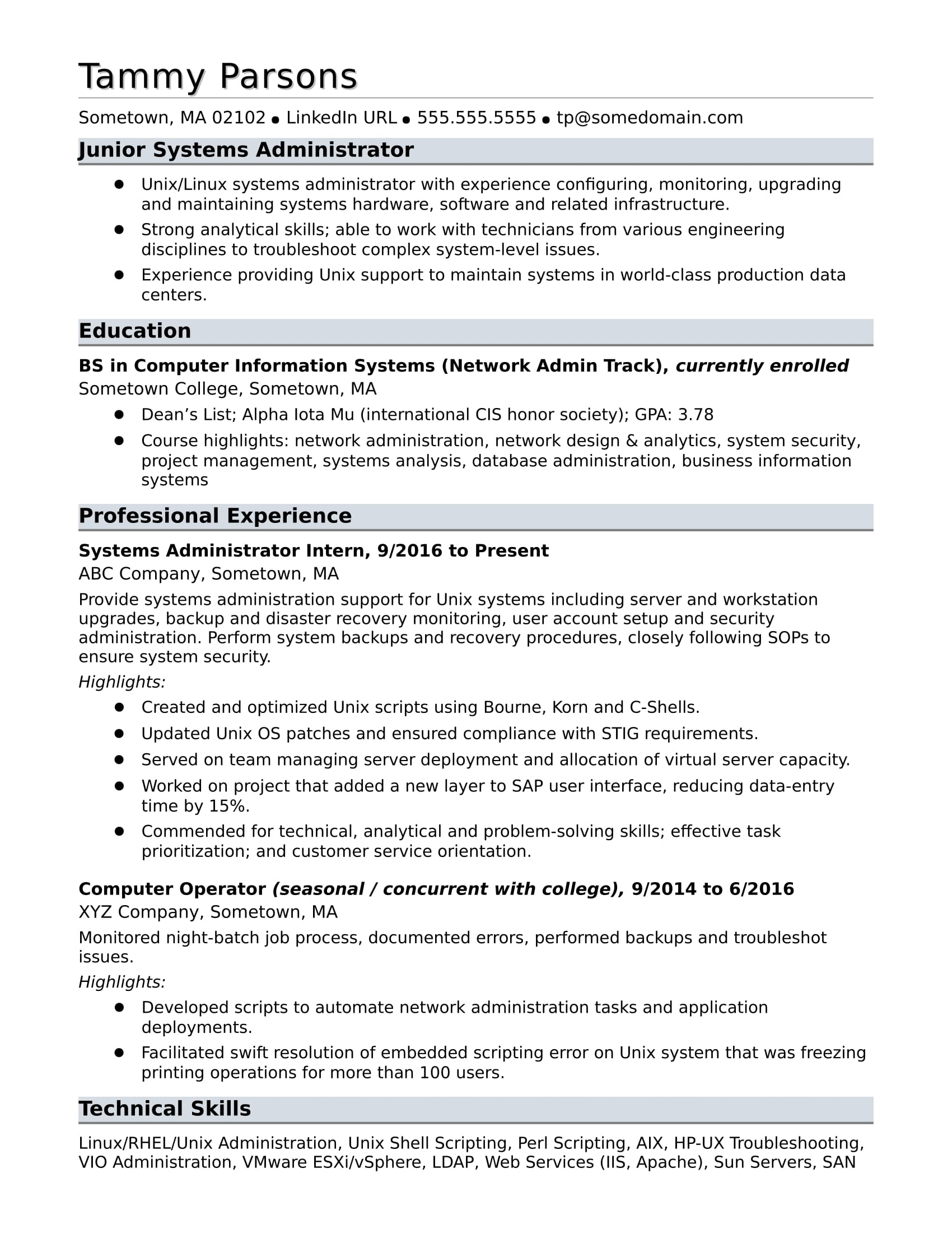 sample resume for an entry level systems administrator monster related experience on Resume Related Experience On Resume