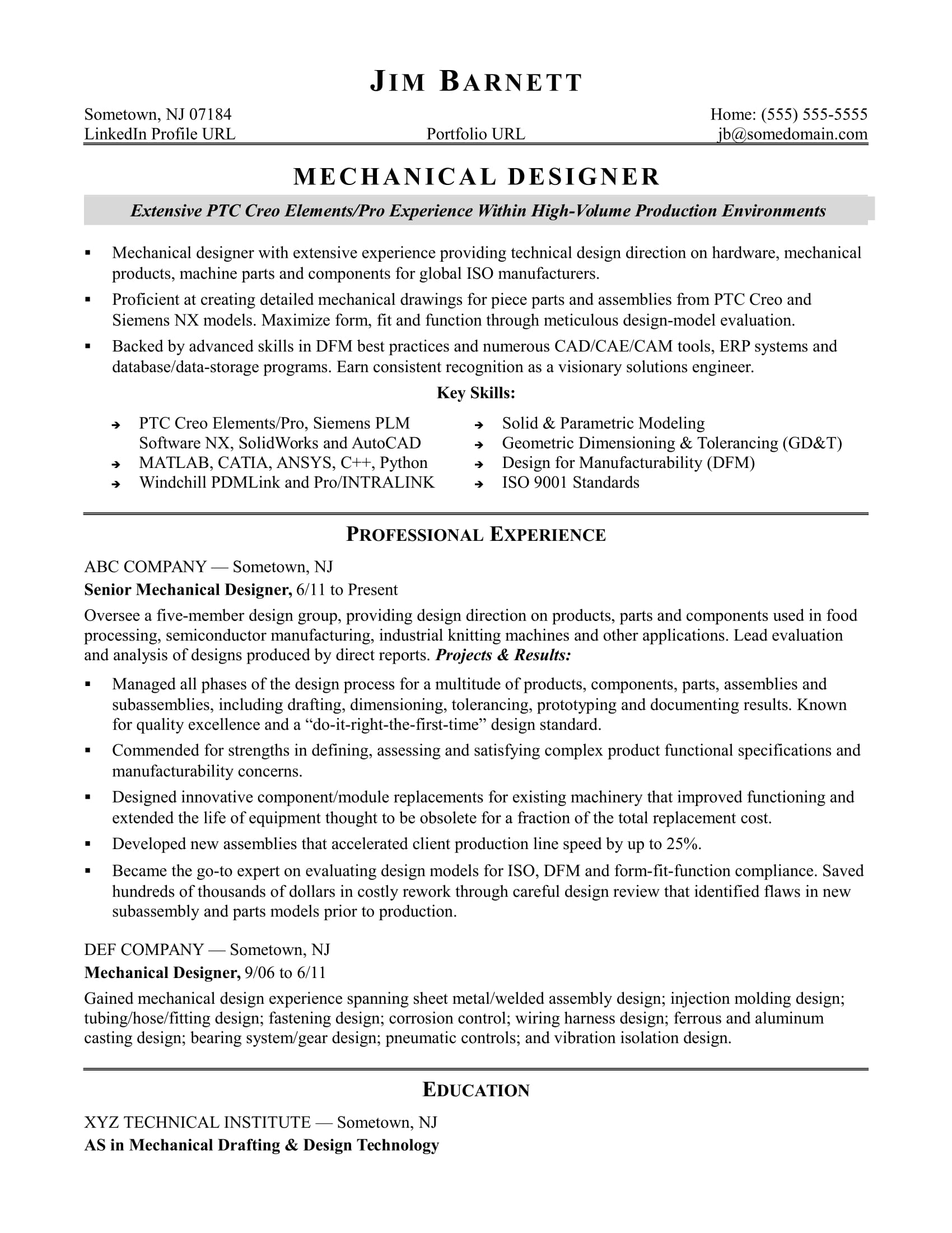 sample resume for an experienced mechanical designer monster experience format college Resume Experience Resume Format
