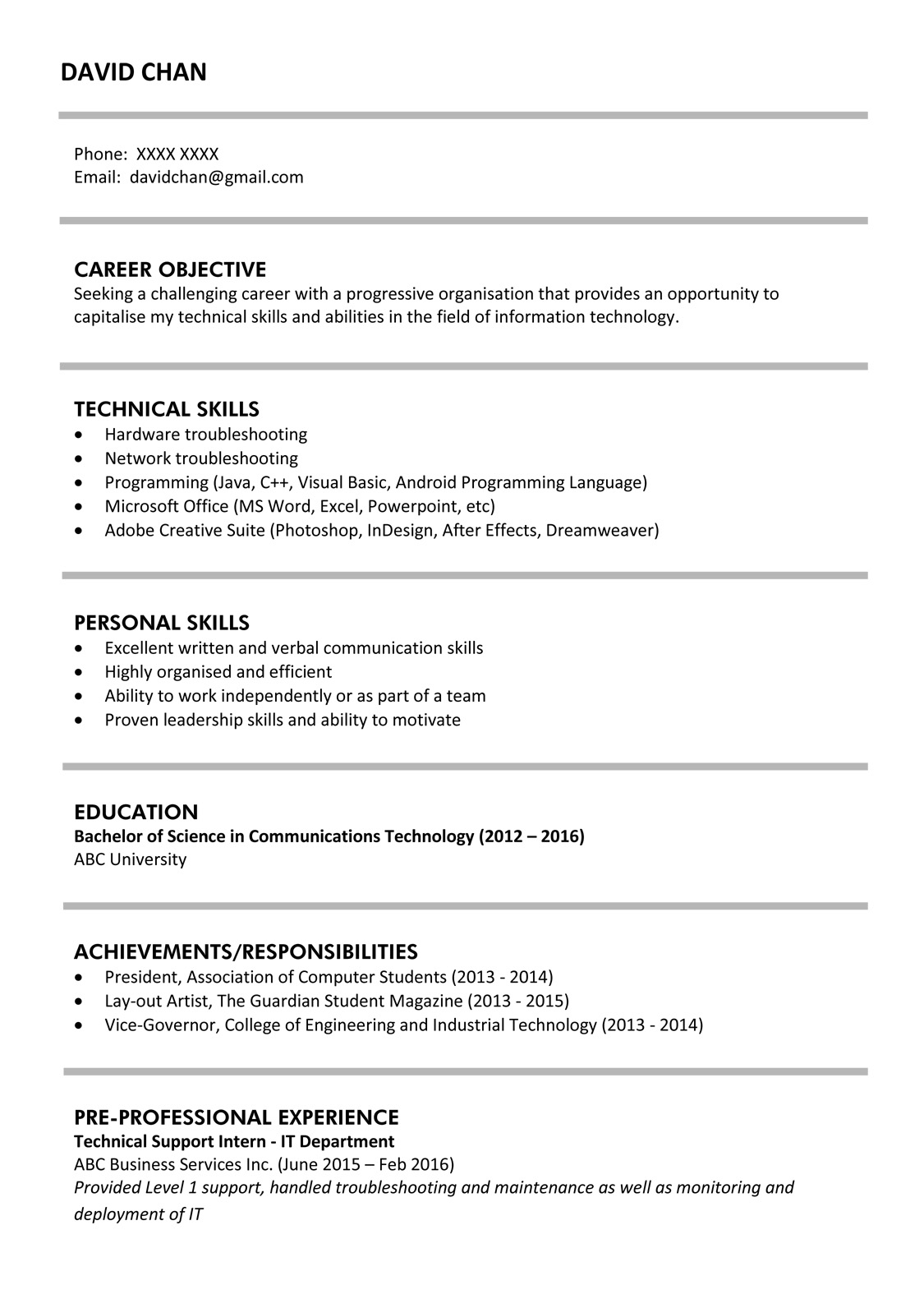 sample resume for fresh graduates it professional jobsdb hong kong best graduate fg 1p Resume Best Resume For Fresh Graduate