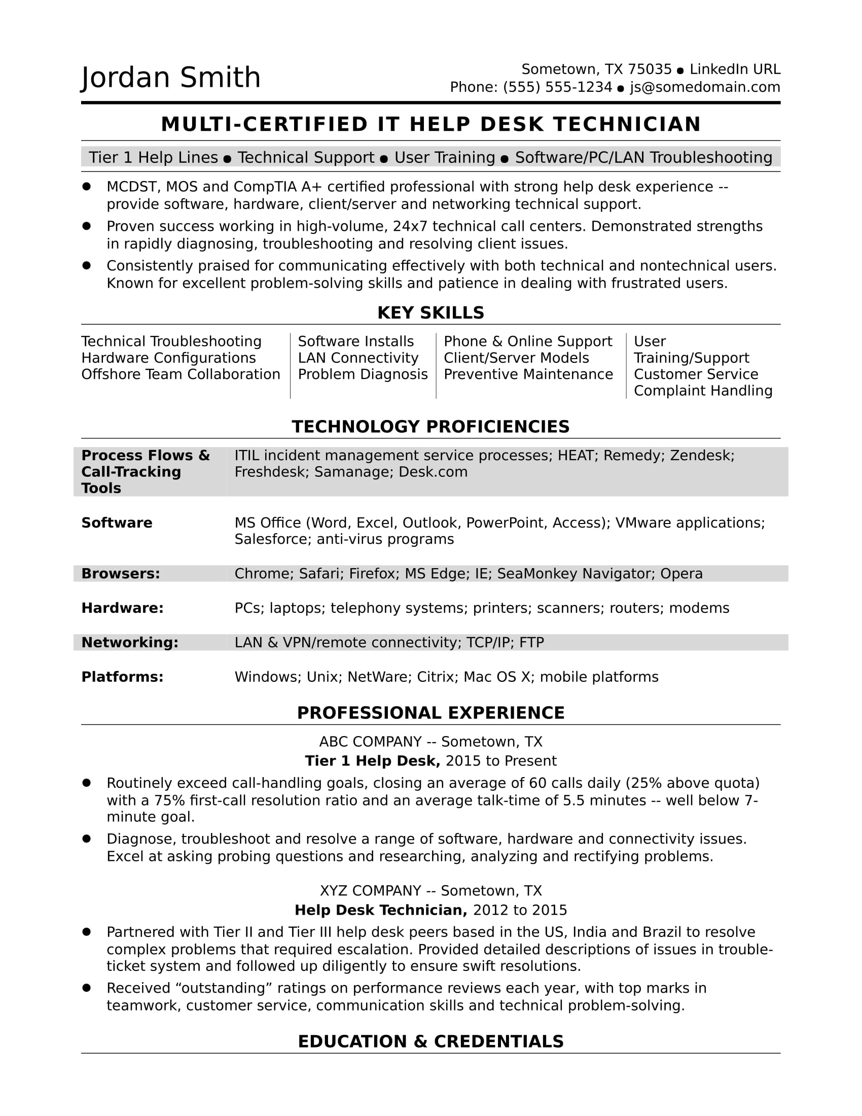 sample resume for midlevel it help desk professional monster hardware and networking Resume Sample Resume For Hardware And Networking Engineer