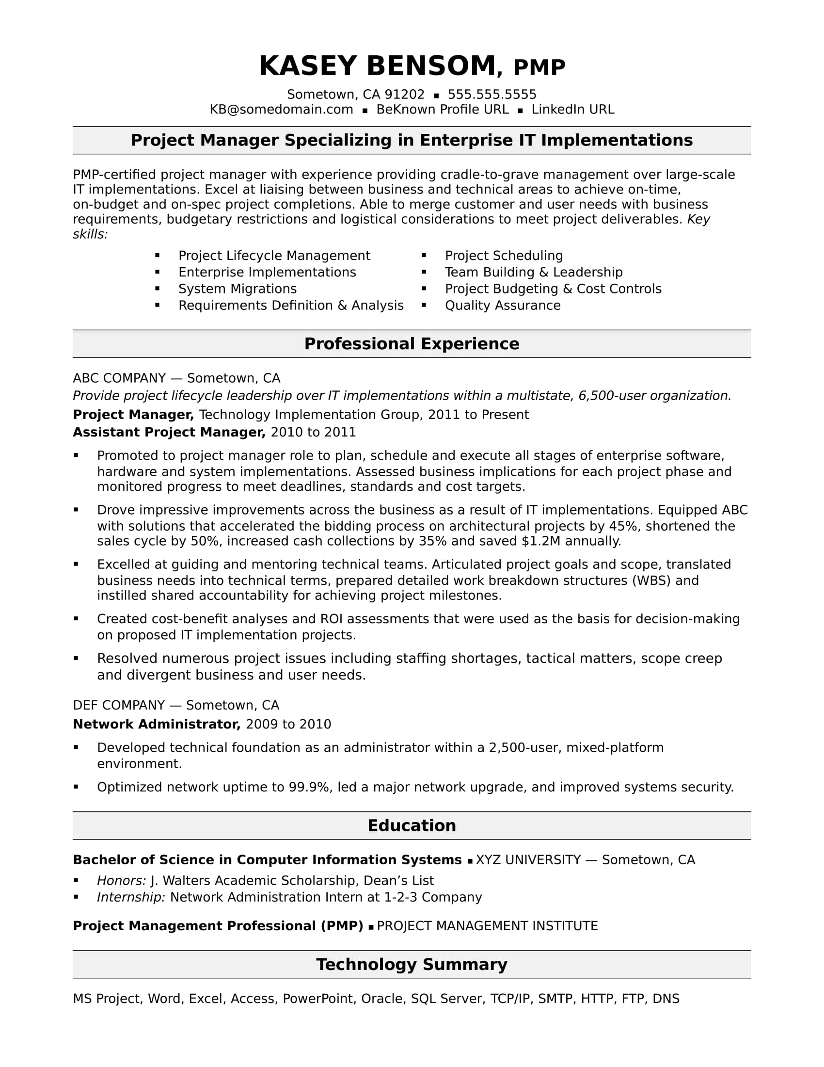 sample resume for midlevel it project manager monster excel experience copyright neuro Resume Sample Resume Excel Experience