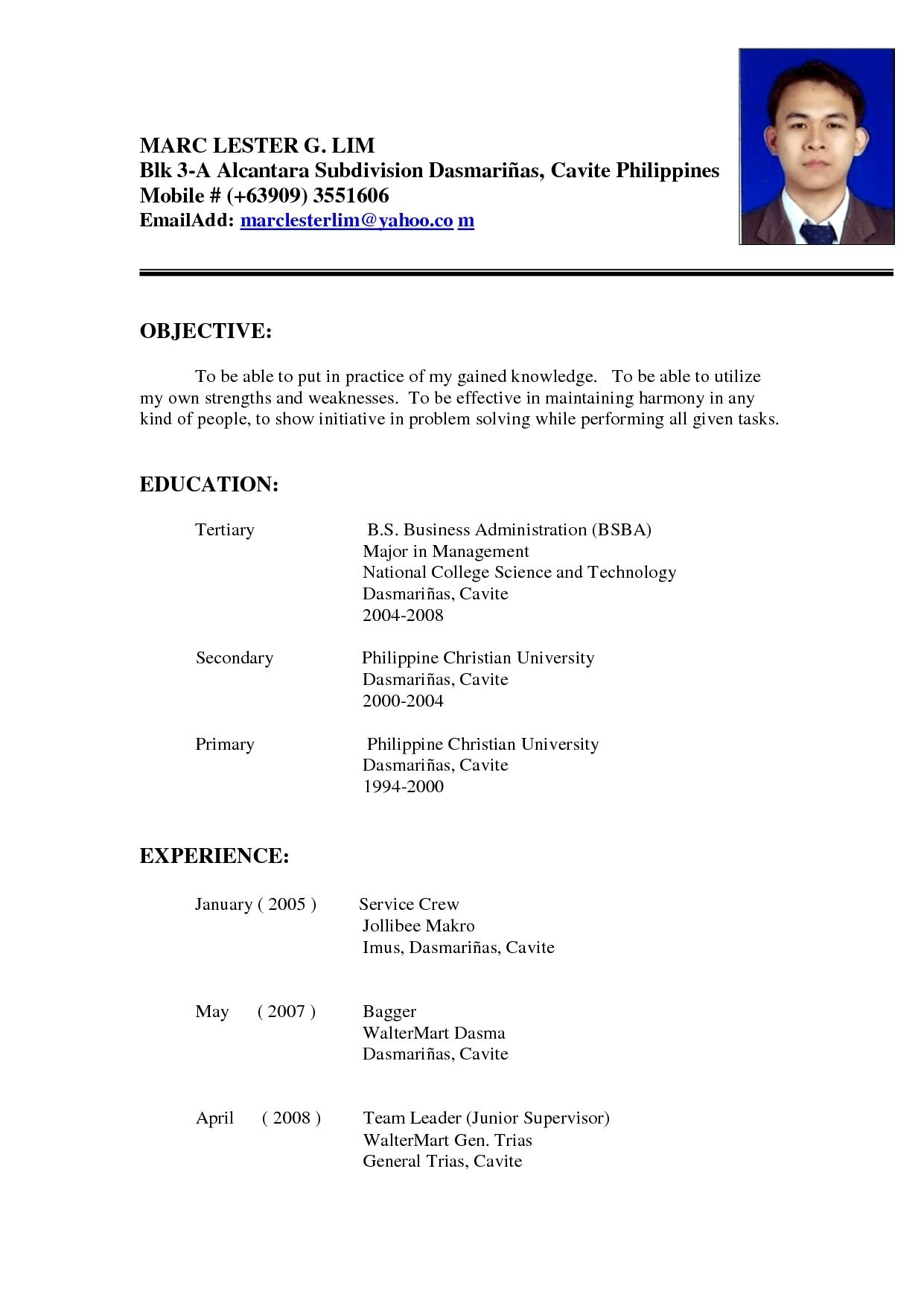 sample resume for ojt architecture student of free templates with experience first time Resume Resume With Ojt Experience