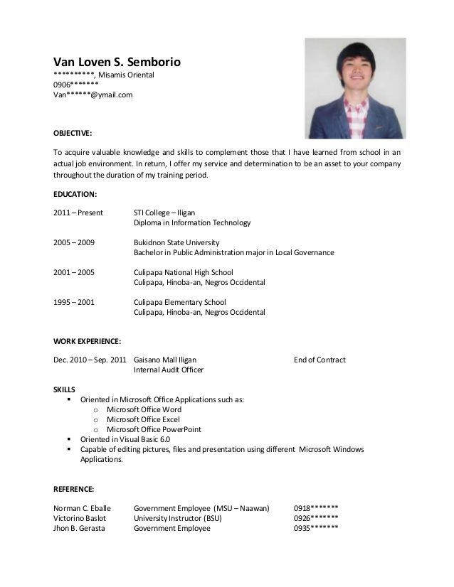 sample resume for ojt job examples templates with experience payroll warehouse objective Resume Resume With Ojt Experience