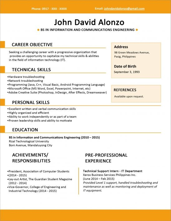 sample resume format for fresh graduates one job template best graduate donde puedo hacer Resume Best Resume For Fresh Graduate