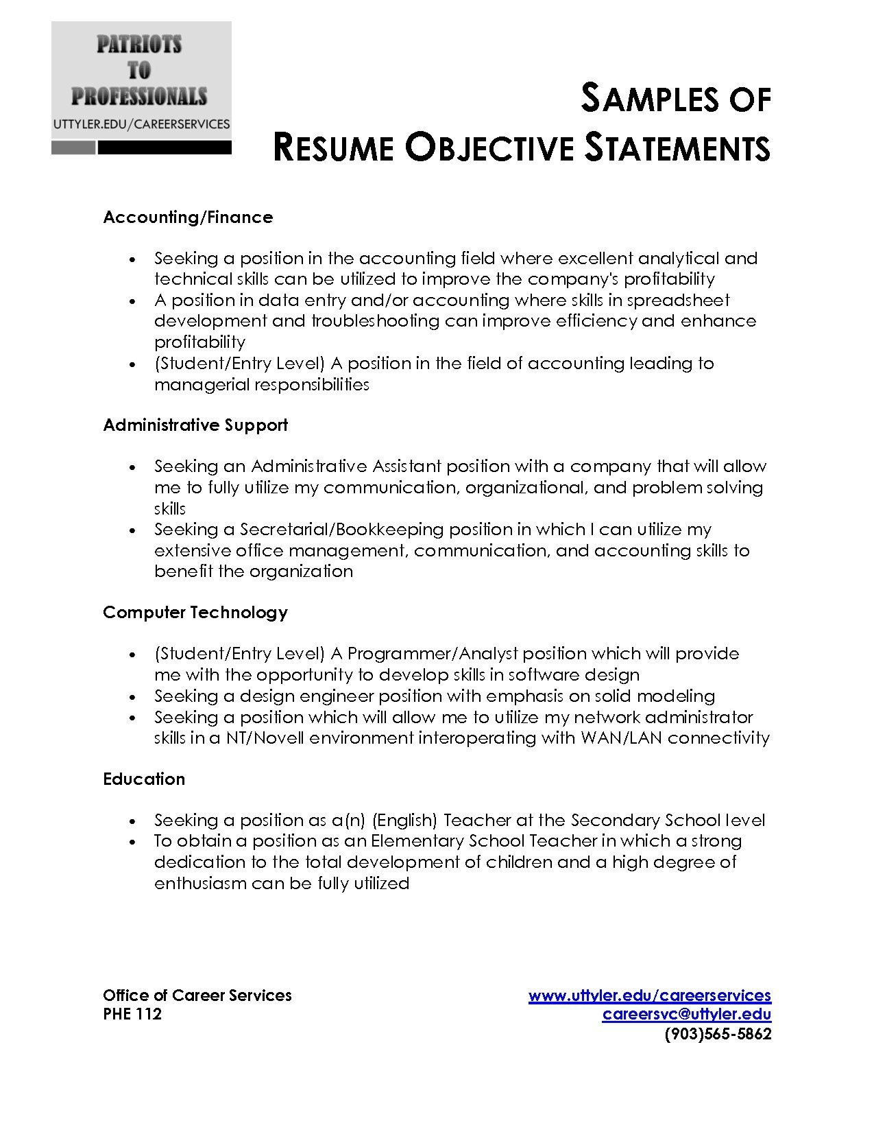 sample resume objective statement free templates examples out of college financial Resume Resume Objective Statement
